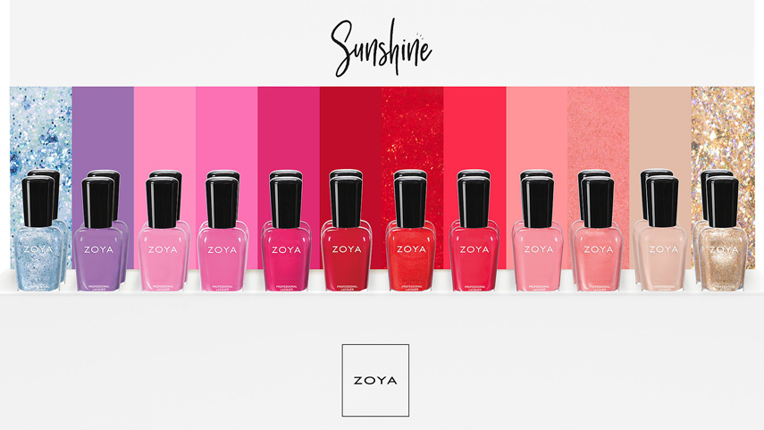 Zoya Sunshine Summer 2018: A 12 piece collection that consists of most colors on the same color line
