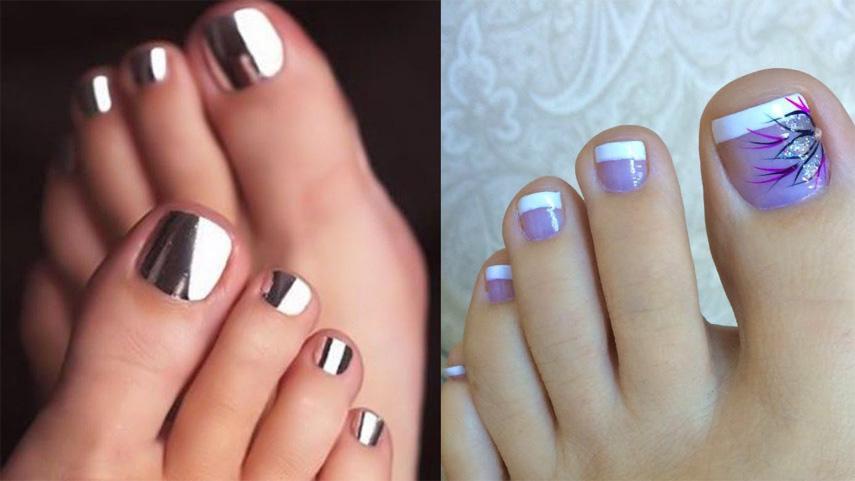 Glossy toenails with shellac nail polish
